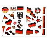Ahimsa Glow Fußball WM 2018 Accessoires Deutschland Flaggen Tattoos in Schwarz Rot Gold - Fanartikel 2er Set mit 28 Motiven