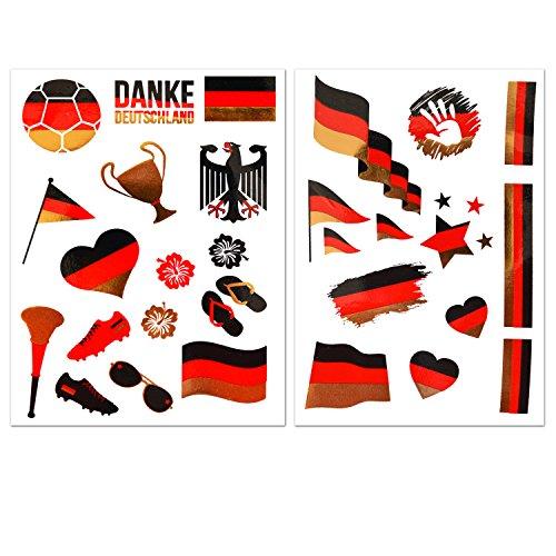 Ahimsa Glow Fußball WM Accessoires Deutschland Flaggen Tattoos in Schwarz Rot Gold - Fanartikel 2er Set mit 28 Motiven -