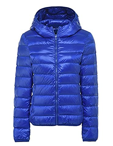 CHERRY CHICK Women's Light Weight Down Jacket with Hood (XL, Sky Blue-AB)