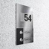 Haustür-Klingel – gebürsteter Edelstahl – 2-fach Taster – LED-beleuchtet – inkl. Gravur – Design - Unterputz-Montage