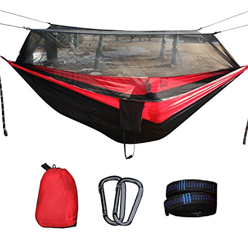 FOOFE 1 Person Camping Hängematte Mit Moskitonetz Ultra Light (UL) Zusammenklappbar Anti-Mosquito Nylon Für Camping Camping/Wandern/Caving Outdoor (Person Light Backpacking Ultra Zelt)