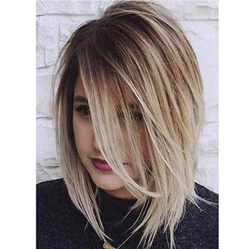 HAOBAO Farbverlauf teilweise Kurze Glatte Haare weibliche Perücke Temperament Schönheit Hochzeit Party hohe Temperatur Draht Perücke Head Set -