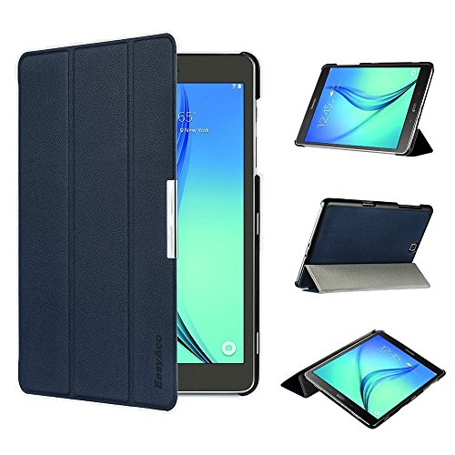 EasyAcc Ultra Slim Samsung Galaxy Tab A 9.7 T550 Hülle Case Tasche PU Leder zubehör hüllen für Samsung Galaxy Tab A 9.7 Smart Cover mit Auto Sleep Wake up / Standfunktion (Dunkelblau, Ultra Slim)