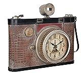 [en.casa] Reloj de pared decorativo diseño cámara antigua - con pantalla analógica - 43 x 14 x 34 cm - de varios colores - cristal