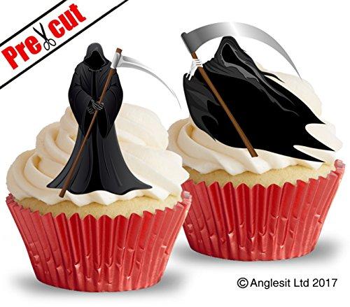 Vorgeschnittenes, essbares Reispapier, Motiv: Sensenmann (Kuchen- und Cupcake-Verzierung, Halloweenparty-Dekoration) (Dekoration Sensenmann Halloween)