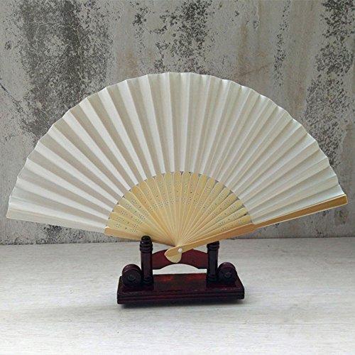 Kviklo Handfächer Folding Fächer Kunststoff Solid Plain Kostüm Handfächerheld Bamboo Openwork Oriental Party Hochzeit Dekorationen(Weiß,21cm)