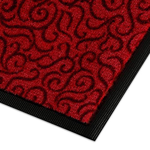 Design Schmutzfangmatte | mit Schnörkelmuster | für Eingangsbereich | Fußmatte in vielen Größen und Farben | rot 40x60 cm