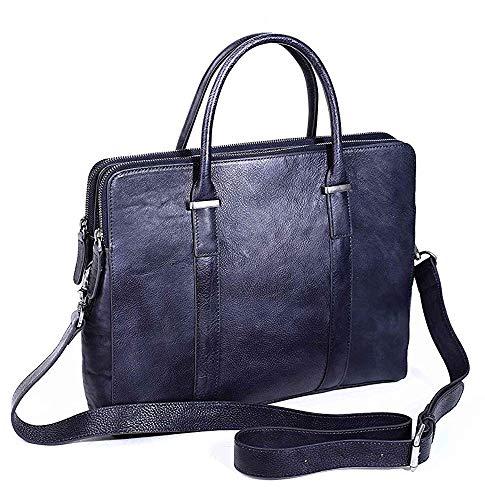rockcow Herren aus genarbtem Leder Aktentasche Messenger Bag Attache Fall 35,6cm Laptop - Grau Laptop Attache
