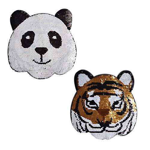 Veränderbare Panda-Tiger Pailletten Applique Patch, verwandelbare Nähen auf Applique Patch Zwei Tiermuster Panda-Tiger Kleidung Logo Zubehör für T-Shirt, Rock, Hose, Hut, Kinder kleiden DIY -