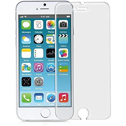kwmobile Protector de pantalla templado MATE y ANTIREFLECTANTE con efecto antihuellas para Apple iPhone 6 / 6S (más pequeño que la pantalla, dada la curvatura de la misma)