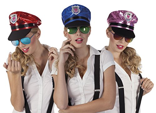 Halloweenia - Police, Polizistin, Brille, Kostüm, Sonnenbrille, Violett (Siebziger Und Achtziger Jahre Kostüm)