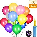 CALSAM KALMI-01 100 Klipp und 1 Ballonpumpe, pumpe, Luftballon, Partyballon, Farbige, Bunte Ballons für Geburtstagsfeiern, Party, Hochzeitsfeiern, Mehrfarbig
