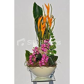 Artificial artística naranja gladiolos y verde hoja de mesa Floral de la orquídea