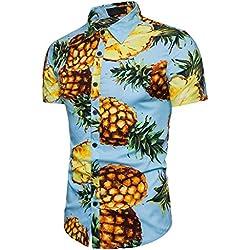 Cinnamou Personalidad Men 's Casual Slim Printed Shirt Top Blusa Manga Corta la piña (Azul, L)