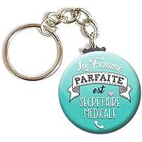 Porte Clés Chaînette 3,8 centimètres la Femme Parfaite est Secrétaire Médicale Idée Cadeau Accessoire Épouse Conjointe…
