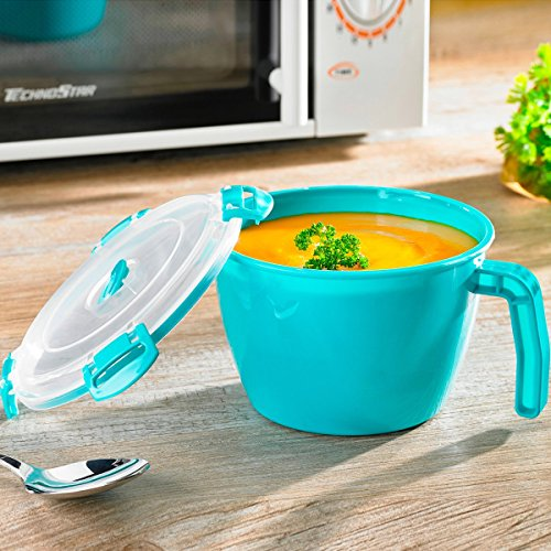 TRI Mikro-Suppentasse, Tasse mit Deckel zum Einfrieren, Aufwärmen oder Aufbewahren von Essen und Trinken, Tasse mit Deckel zum Einfrieren, Aufwärmen oder Aufbewahren von Essen und Trinken
