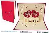 3D-Pop Up-Karte, Herz-Motiv, ideal zum Valentinstag, Rot