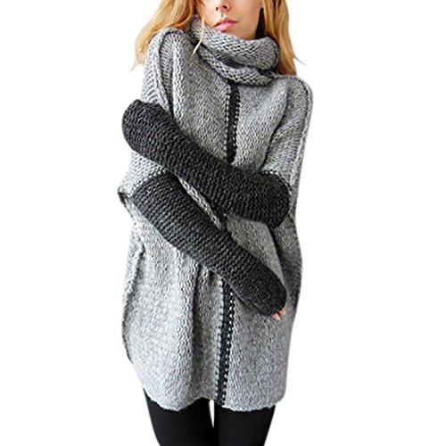 iBaste Strickpullover Damen Rollkragenpullover Strickpullover Lässig Sweatshirt Langarm Strickpulli Loose Pullover für Damen-GY-L
