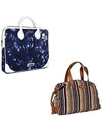 The Maker Combo Of Women's White, Blue Ikat Bag With Women's Multicoloured Kilburn Duffle Bag