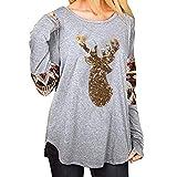 OverDose Damen Tuniken Pullover Festival Weihnachten Frauen Rentier Blusen T-Shirt Xmas Party Clubbing Schlank Langarmshirts(Y-Grau,EU-34/CN-S)