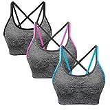 SANMIO Sport BH Damen Yoga Fitness Push Up BH, abnehmbare Polsterung und Ohne Bügel, Starker Halt Bra(Verpackung/MEHRWEG)
