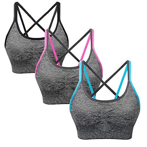 Abnehmbare Bügel (SANMIO Sport BH Damen Yoga Fitness Push Up BH, abnehmbare Polsterung und Ohne Bügel, Starker Halt Bra(Verpackung/MEHRWEG))