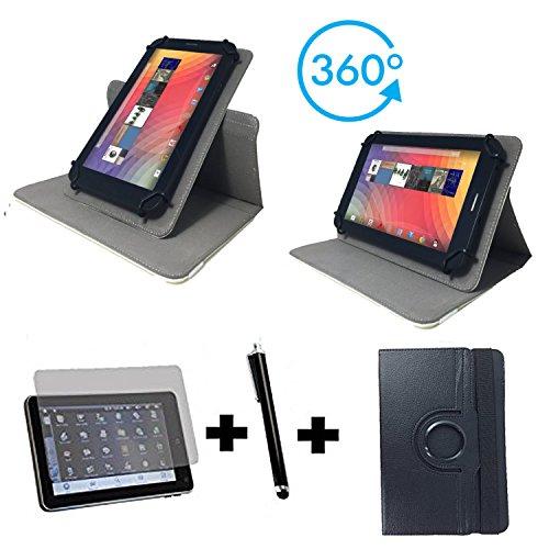 3er Starter Set für Archos 101c Platinum Tablet Pc Tasche + Stylus Pen + Schutzfolie - 10.1 Zoll Schwarz 360_ 3in1