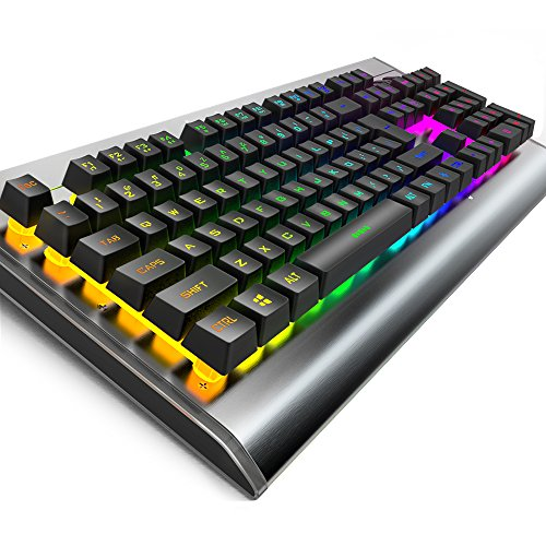 Tastiera meccanica Feel, Iyowin 7 colori LED illuminato, 9 retroilluminato, fatto a mano, resistente all'acqua, controllo vocale, 104 tasti di sospensione anti-ghosting per PC Gamers - US Layout