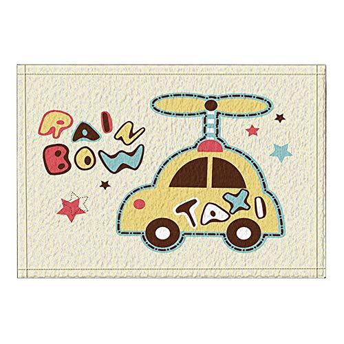 EdCott Cartoon Taxi Bad Teppiche rutschfeste Fußmatte Boden Eingänge Outdoor Indoor Haustür Matte Kinder Badematte 15,7x23,6in Bad-Accessoires - Haustier Taxi Kleine