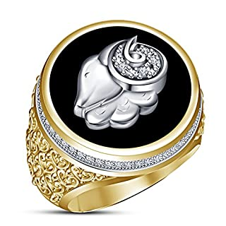Vorra Fashion 14k Gold Plated Real 925 Sterling Silver Zodiac Sing Ariex Men's Band Ring (S 1/2)