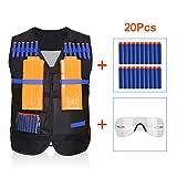 Yosoo Childrens Enfants Elite Tactical Vest pour Nerf Gun N-strike Elite Series (Gilet noir+20PCS balles+1 Lunettes protection)