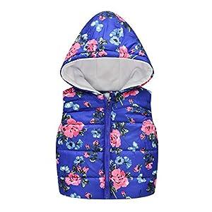 URMAGIC Girls Waistcoat, Girls Baby Kids Toddler Gilets Cartoon Floral Sleeveless Thick Coat Jackets Rainbow Hooded… 8