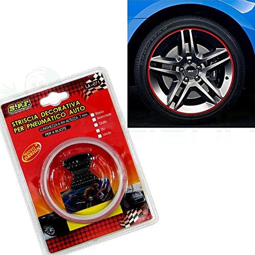Nastro adesivo striscia decorativa pneumatico ruota cerchi auto tuning 6.4m ROSSO