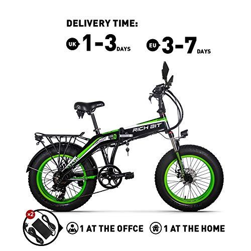 RICH BIT RT016 48V * 500 vatios Bicicleta eléctrica Bicicleta de montaña Bicicleta Plegable de 20 Pulgadas 9.6 Ah LG batería de Litio 4.0 Pulgadas Fat Tire Bicicleta (GRREN)