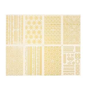 5 Patch Sticker Ongle Manucure Bijoux Water Decal Nail Art Autocollant Dore Nail Art Tips motif aleatoire