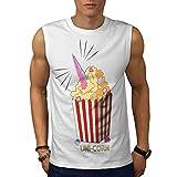 wellcoda Uni Mais Popcorn Uomini Bianca 5XL T-Shirt Senza Maniche