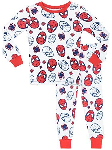 Spiderman - pigiama a maniche lunga per ragazzi di uomo ragno - vestibilitta stretta - 7 - 8 anni