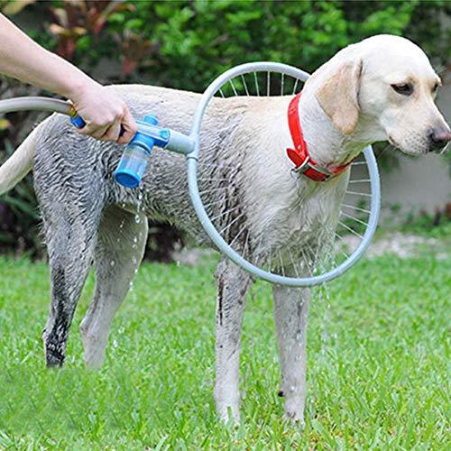 Lifetime Pet Anello Pulizia Cane 360 Gradi Kit Lavaggio Attacco Tubo Giardino Doccia Bagno Cani e Animali con Contenitore per Shampoo