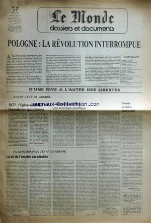 MONDE DOSSIERS ET DOCUMENTS (LE) [No 89] du 01/03/1982