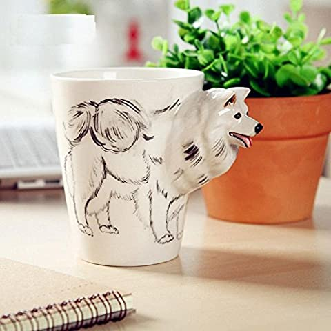 ZIMEI Fatto a mano 3D del samoyed in ceramica tazze, tazzine, ad alta temperatura, forno a microonde 420ml , 2 set - Starbucks Tazze E Tazzine