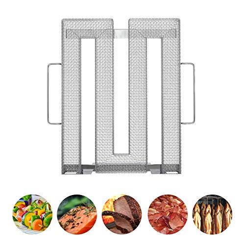 Neco+| Edelstahl Kaltrauchgenerator | Kaltraucherzeuger - Sparbrand für Fleisch, Fisch & Gemüse auf dem Grill, Smoker oder Räucherofen ➡ Feinste Raucharomen durch Kaltrauch