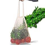 Borsa shopper a rete ecologica in cotone biologico, organizer resistente per andare al mercato, ideale per fare compere, per il fai da te, riutilizzabile, lavabile in lavatrice Beige