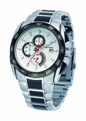 Time Force - TF2976M02M - Montre Homme - Quartz Analogique - Cadran Blanc - Bracelet en Acier