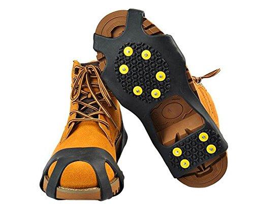 Eis Schmerzlinderung Gel (Upstore 1 Paar 10 Stahl-Nieten Anti-Rutsch-Schuhe für Steigeisen/Schnee/EIS, Schwarz, L)