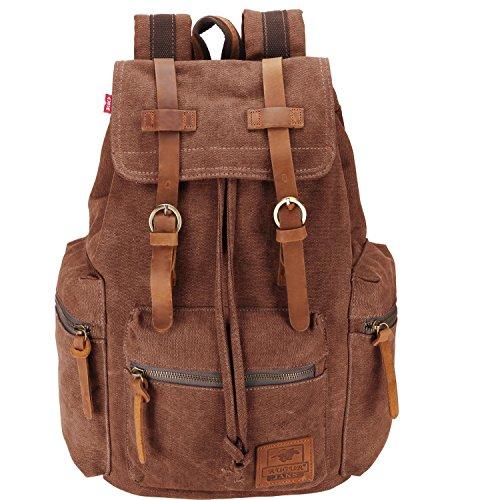 Canvas Vintage Rucksäcke BESTOPE Damen Herren Schulrucksack Retro Backpack für Campus Studenten und Outdoor Reisen Wandern mi...
