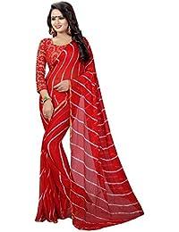 Harikrishnavilla Women's Georgette Saree With Blouse Piece (Lehriya Red New, Free Size)