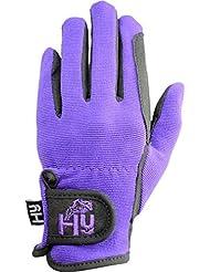 Hy5 2-Tone mamamemo diario guantes de equitación - Negro/Púrpura, color , tamaño mediano