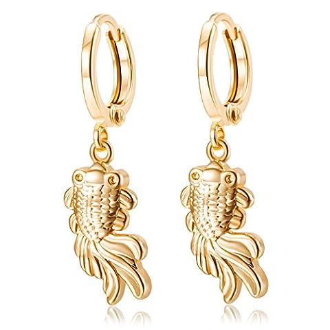 YAZILIND 18K Gold überzogene Frauen-Schmucksache-vorzügliche nette Fisch-hängende Tropfen baumeln Band-Ohrringe reizend Mädchen-Geschenk