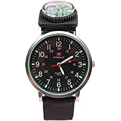 QBD Mens Black Night Vision Survival SAS Army Compass Canvas Watch