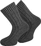 normani 2 Paar Sehr warme Alpaka Wollsocken für Damen und Herren/wie Handgestrickt ! waschmaschienenfest ! Farbe Anthrazit Größe 43/46
